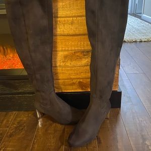 Nine West Tall Chocolate Brown Textile Boots